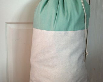 Laundry Bag Drawstring -- Canvas -- Mint Green Light Aqua