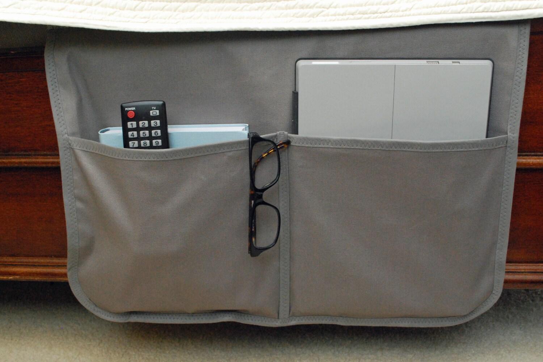 Bedside Pocket Caddy Fabric Organizer Gray