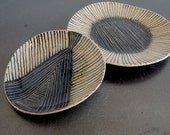 Handbuilt small black and tan stripes + triangles ceramic plate