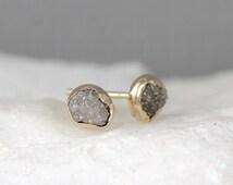 Raw Diamond Earrings - 14K Yellow Bezel Style - Rough Diamond Earring - Uncut, Conflict Free Diamonds - April Birthstone
