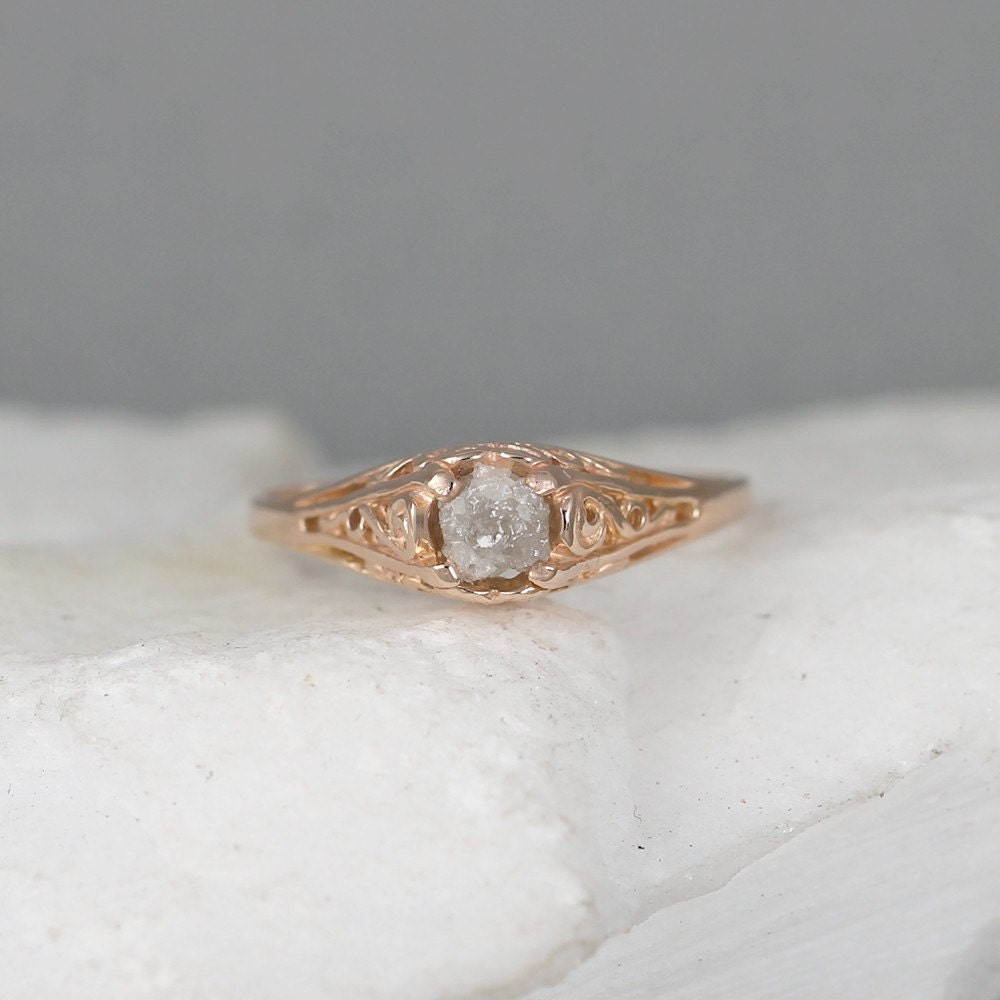 14K Pink Gold and Raw Diamond Ring Antique Style Engagement