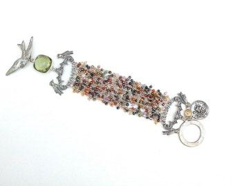 Multi Strand Statement Bracelet, Bird Jewelry, Bird Bracelet, Gemstone Jewelry, Gemstone Bracelet, Quartz Jewelry, Quartz Bracelet, 9 Strand
