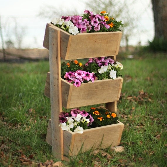 Items similar to reclaimed wood vertical garden outdoor for Vertical planter boxes
