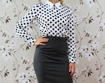 Pinstripe dark gray skirt, knee length skirt, office skirt, business clothes, high waisted skirt, pencil skirt