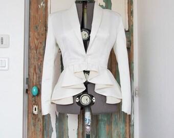 slim fit blazer, women's blazer,  ivory peplum jacket, women's clothing, wedding jacket, shawl collar peplum blazer, wedding blazer