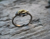 Ancient Empires Ring with Golden Leaves and blackened Sterling Silver