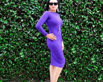 Tight Dress - Midi Pencil Dress - Womens Long Dress - Wiggle Dress - Long Sleeves - Boat Neck - Plus Size Dress - Petite Clothing Tall Dress