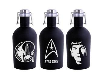 Star Trek Growler 64oz- Black Stainless Steel Growler- Star Trek Fan Gift- Enterprise Spock