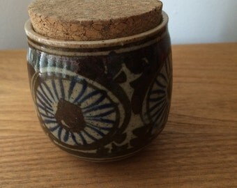 Small Vintage Japan Ceramic Jar With Cork Lid