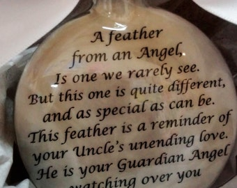 UNCLE Memorial Christmas Ornament w/ Wing Charm - A Feather From a Guardian Angel - In Memory of Loved One Loss - Sympathy Gift Bereavement
