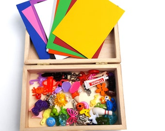 Montessori inspired color sorting box, preschool learning toy, counting and sorting toy, Waldorf learning toy, Montessori math material,