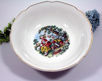 Scenic china serving bowl-scalloped gold rim-courting couple