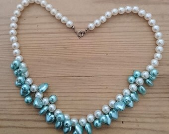 Vintage blue and white Pearl bead necklace