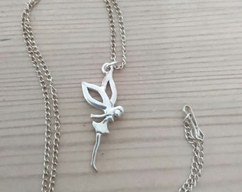 Vintage sterling silver fairy pendant and chain