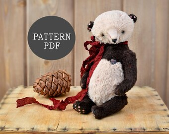PDF Pattern Panda Teddy Bear 9 inches - Soft Toy Pattern - Instant Download