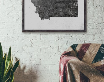 Instant Download, Montana Map Printable, Cafe Wall Decor, Hotel Wall Art, Modern Map Art, Loft Industrial Style, 5x7 8x10 11x14 16x20, E077