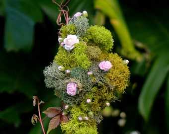 Miniature Pink Rose and Rose Bud Tree Faerie Garden Accessory