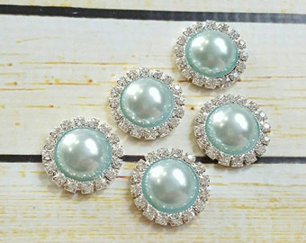 aqua pearl rhinestone flatback - wedding embellishment - wholesale craft supply - baby headband supply - DIY supplies