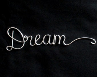 wire word dream, wire words, decorative words, wire script words, wire writing, wire word art,hanging words, decorative sign, cursive words