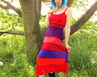 10 12 14 Colourful upcycled patchwork maxi dress strappy red orange purple sleeveless hippy festival hippie boho faery pixie unusual faerie