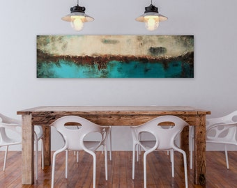 Large Blue Painting, Abstract Painting, Large Wall Art, Wall Decor, Wall Hanging, Turquoise Brown Art, Original Painting, Acrylic Painting