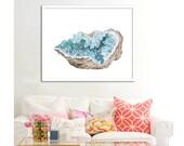 Celestite Crystal Poster PRINTABLE FILE - Rock art, gemstone art, crystal art print, Dorm room, Gift for her, oversized art