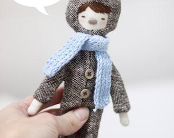 Valentine's gift textile doll: deer girl. Winter gift. Blue scarf.