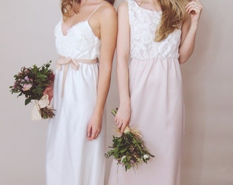 HOLLIE - Lace maxi dress, Bridesmaid Dress, Corded lace and duchess satin, soft pink, dusky pink, nude, blush, ivory, cream - made to order