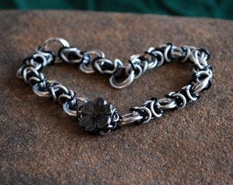 Winter Flower Byzantine Bracelet in Black, Frost, and Silver
