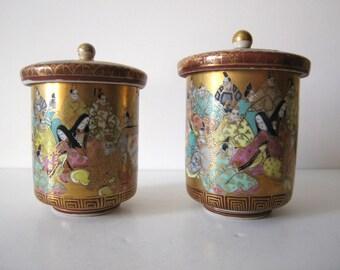 antique hand painted pair Meiji period Kutani lidded wedding ceremonial tea cups Japan