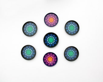 Vintage Coasters // Round Metal Costers with Colorful Dots // Set of 7