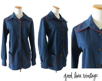 60s Coat Mod Jacket 1960s Nautical Sailor Girl Navy Blue Red Vintage Outerwear Size Medium Large