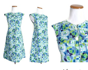 60s Shift Dress Mod Psychedelic 1960s Twiggy Abstract Sleeveless Green Blue Geometric Pockets Size Medium M