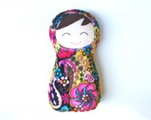 """First Baby Doll, Snuggly Swaddle Doll, Handmade Brunette Soft Russian Dolly with Multicolored Minky Fabric 10"""" High"""
