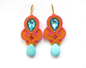 Dangle Earrings Colorful -Drop Earrings , Summer Earrings , Turquoise Earrings , Soutache Earrings , Handmade Earrings with Crystals