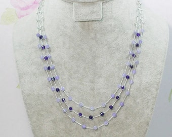 Purple Stone Multi Strand Necklace by Silk Thread