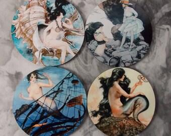 Round Mermaid Coasters - Four Different La Vie Parisienne Mermaid Coasters - Blue Set