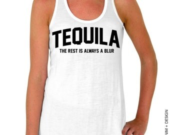 Tequila, The Rest Is Always A Blur - White Flowy Tank Top