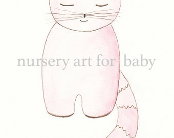 Nursery decor-Printable wall art- Instant download- Watercolor - Wall print - Baby Pink cat