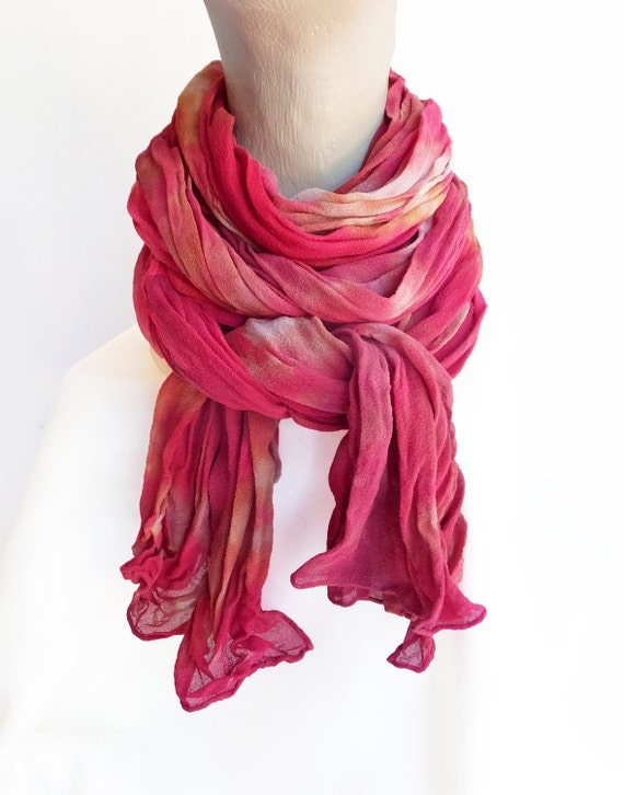 "Red crinkle scarf - silk chiffon scarf - silk crinkle scarf - red, tan, gold, red wine, burgundy - hand dyed - LARGE - 17"" x 74"""