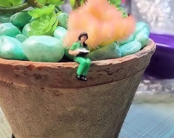 NEW 1   relax lady reading a book project  plastic people figures for diorama, terrarium