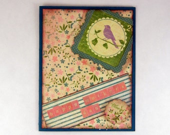 Mothers Day Card - Pink and Teal Bird Mothers Day Card - Floral, For Mom