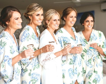 Bridesmaid Robes, Luxurious Short Kimono Robe - Hydrangea BLUE