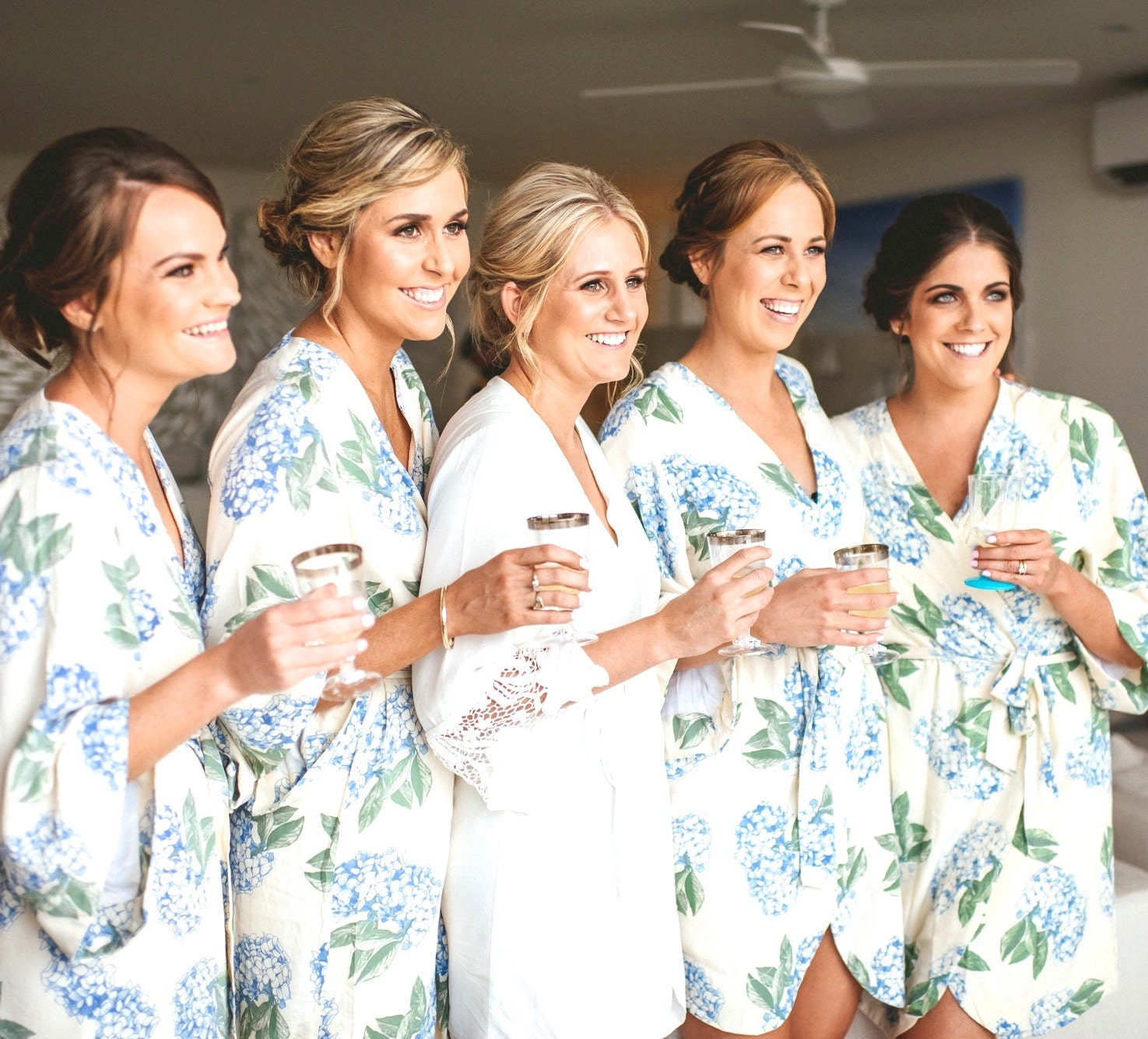 bridesmaid robes luxurious short kimono robe hydrangea blue