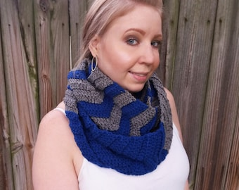Crochet Striped Scarf - Chevron Infinity Scarf - Big Oversized Scarf - Blue & Grey Cowl Scarf - Crochet Loop Scarf - Blue Crochet Cowl