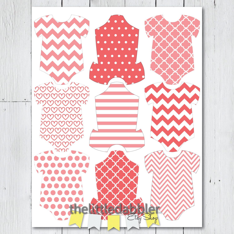 Baby Shower Gift Tags Printable Free: Printable Baby Shower Onesie One-Piece Favor Gift Tags Dark