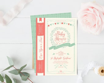 Book Baby Shower Invitations - Fairy Tale Once Upon A Time Baby Shower Invites - Mint and Coral - Storybook - Printable or Printed