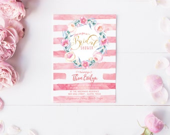 Boho Bridal Shower Invitation - Floral Wreath Pink and Gold Printed or Printable Invites - Watercolor Peonies Wreath Invitations