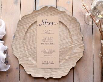Kraft Wedding Menus - Rustic Wedding Menu - Simple Menus - Printable Navy Menus - Skinny - Printable Wedding Menu Cards - Kate