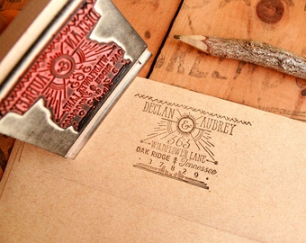 Vintage Rustic Return Address Stamp - Art Deco Great Gatsby Custom Stamp